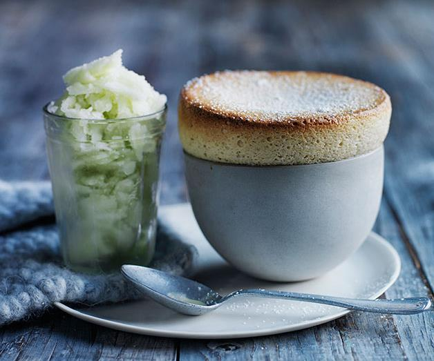 """**[Pear and vanilla soufflés with apple sorbet](https://www.gourmettraveller.com.au/recipes/browse-all/pear-and-vanilla-souffles-with-apple-sorbet-12272
