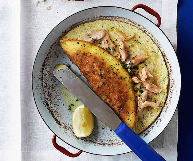 """[**Smoked trout and chive soufflé omelette with lemon beurre noisette**](https://www.gourmettraveller.com.au/recipes/browse-all/smoked-trout-and-chive-souffle-omelette-with-lemon-beurre-noisette-9732