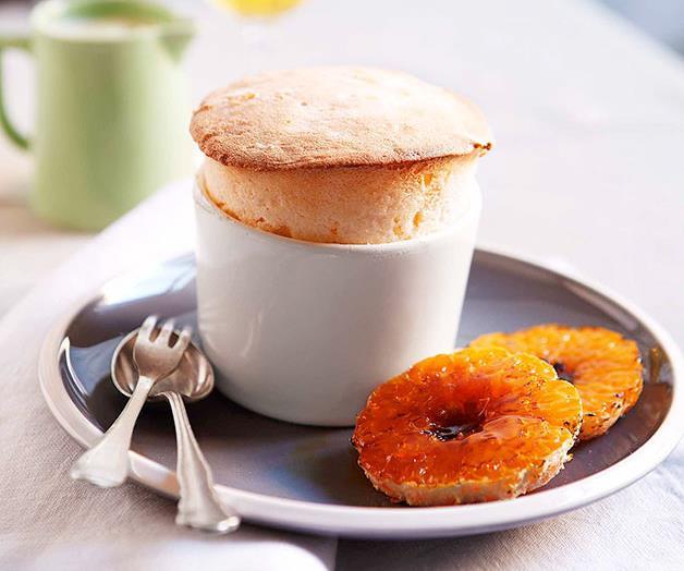 "**[Mandarin soufflé with white chocolate sauce](https://www.gourmettraveller.com.au/recipes/chefs-recipes/mandarin-souffle-with-white-chocolate-sauce-8970|target=""_blank"")**"