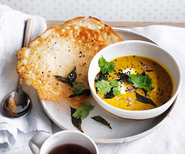 "**[Dosas with coconut lentil curry](https://www.gourmettraveller.com.au/recipes/browse-all/dosas-with-coconut-lentil-curry-12786|target=""_blank"")**"