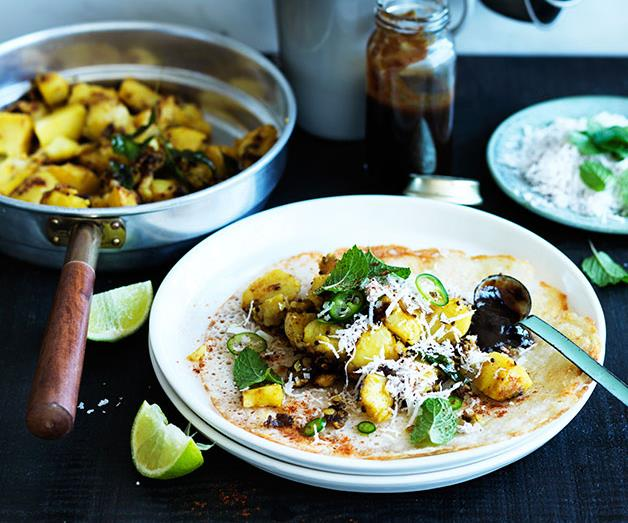 """**[Dosai with spiced potatoes and tamarind chutney](https://www.gourmettraveller.com.au/recipes/browse-all/dosai-with-spiced-potatoes-and-tamarind-chutney-12307