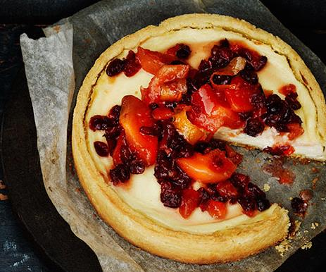 """**[Quince and cranberry compote and ricotta tart](http://www.gourmettraveller.com.au/recipes/browse-all/quince-and-cranberry-compote-and-ricotta-tart-11983 target=""""_blank"""")**"""