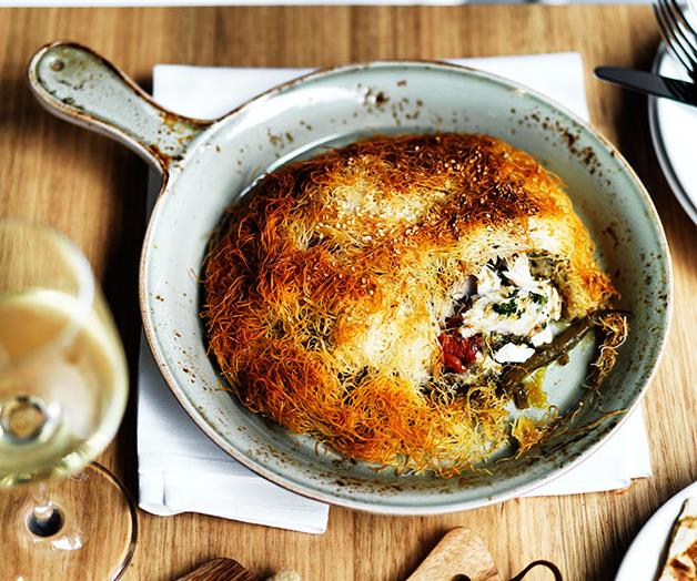 """**[Snapper, slow-braised beans, fennel and kataifi pies](https://www.gourmettraveller.com.au/recipes/chefs-recipes/snapper-slow-braised-beans-fennel-and-kataifi-pies-7916