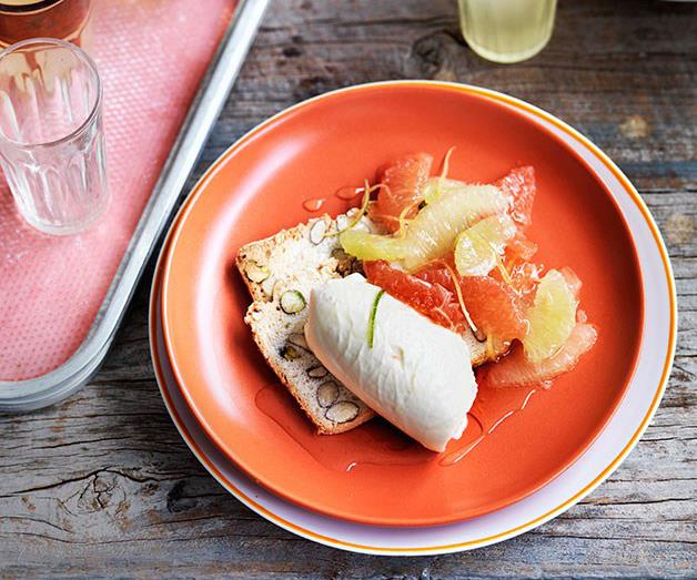 """[**Lemon cheesecake with citrus salad and limoncello syrup**](https://www.gourmettraveller.com.au/recipes/chefs-recipes/lemon-cheesecake-with-citrus-salad-and-limoncello-syrup-9101