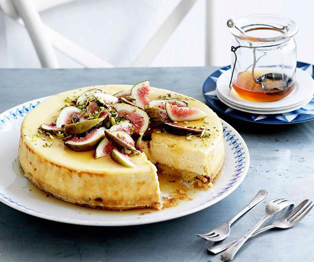 """[**Goat's cheese cake with figs and honey**](https://www.gourmettraveller.com.au/recipes/browse-all/goats-cheese-cake-with-figs-and-honey-10834