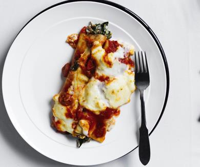 """[**Beef and ricotta cannelloni**](https://www.gourmettraveller.com.au/recipes/chefs-recipes/beef-and-ricotta-cannelloni-16487 target=""""_blank"""")"""