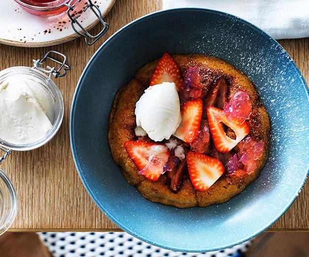 """**[Ben Devlin's grilled strawberry cake with white chocolate and rosé](https://www.gourmettraveller.com.au/recipes/chefs-recipes/grilled-strawberry-cake-with-white-chocolate-and-rose-8396 target=""""_blank"""")**"""