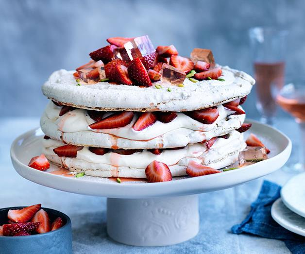 """**[Pistachio and strawberry vacherin](https://www.gourmettraveller.com.au/recipes/browse-all/pistachio-and-strawberry-vacherin-12353 target=""""_blank"""")**"""
