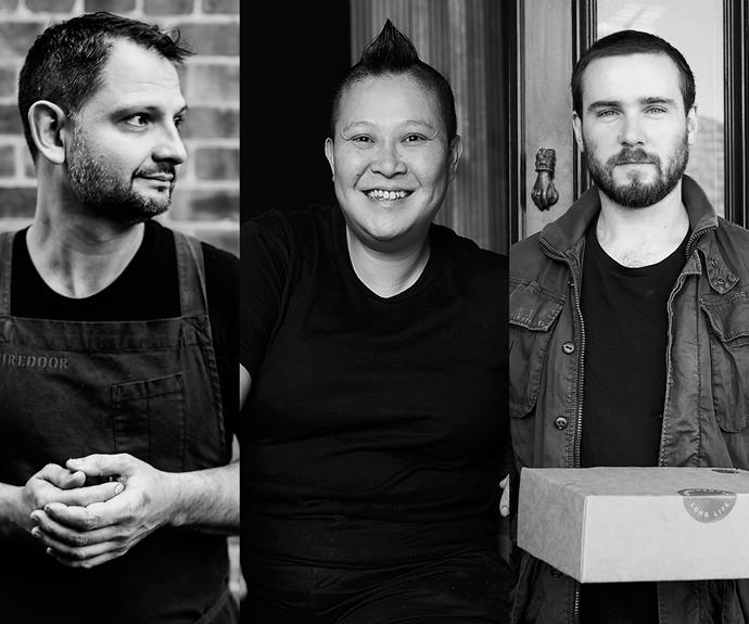 From left: Lennox Hastie, head chef and owner of Sydney's Firedoor; chef-owner Jerry Mai of Melbourne's Phở Nơm; Cameron Stephens, founder of Sydney's Condimental.