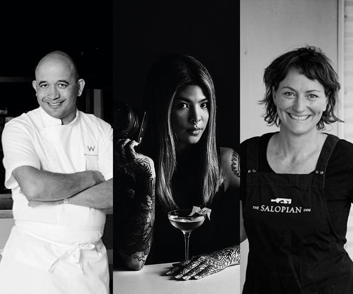 From left: Chef Adam D'Sylva of Melbourne's Lollo; Millie Tang of Brisbane's The Gresham; and Karena Armstrong, chef-owner of The Salopian Inn, McLaren Vale.