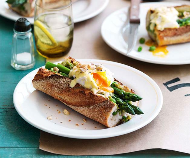"[**Asparagus, poached egg and Taleggio baguette**](https://www.gourmettraveller.com.au/recipes/chefs-recipes/asparagus-poached-egg-and-taleggio-baguette-9047 target=""_blank"")"