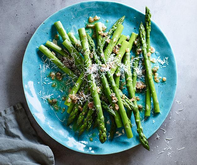 """[**Asparagus with caper and shallot butter**](https://www.gourmettraveller.com.au/recipes/browse-all/asparagus-with-caper-and-shallot-butter-12199 target=""""_blank"""")"""