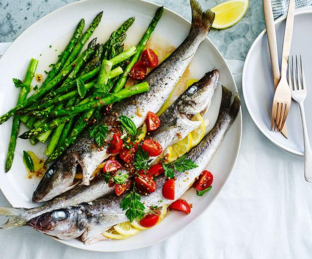 """[**Roast whiting with asparagus and sauce vierge**](https://www.gourmettraveller.com.au/recipes/fast-recipes/roast-whiting-with-asparagus-and-sauce-vierge-13525 target=""""_blank"""")"""