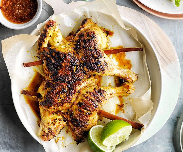 """**[Sugarcane chicken with pineapple and coconut salad](https://www.gourmettraveller.com.au/recipes/browse-all/sugarcane-chicken-with-pineapple-and-coconut-salad-12160 target=""""_blank"""")**"""