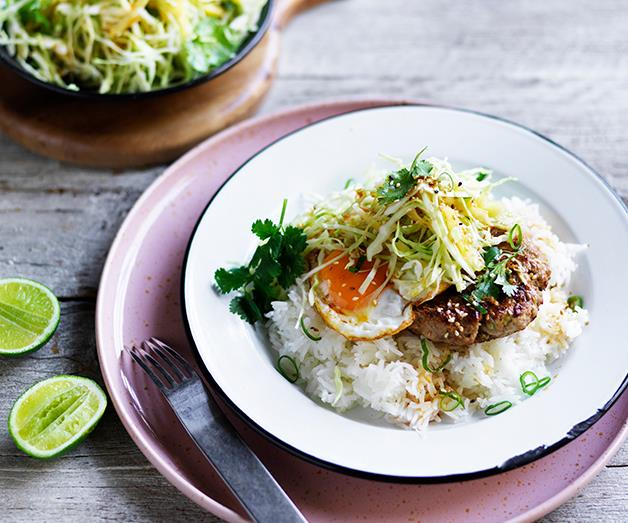 """**[Loco moco with pineapple slaw](https://www.gourmettraveller.com.au/recipes/browse-all/loco-moco-with-pineapple-slaw-12695 target=""""_blank"""")**"""