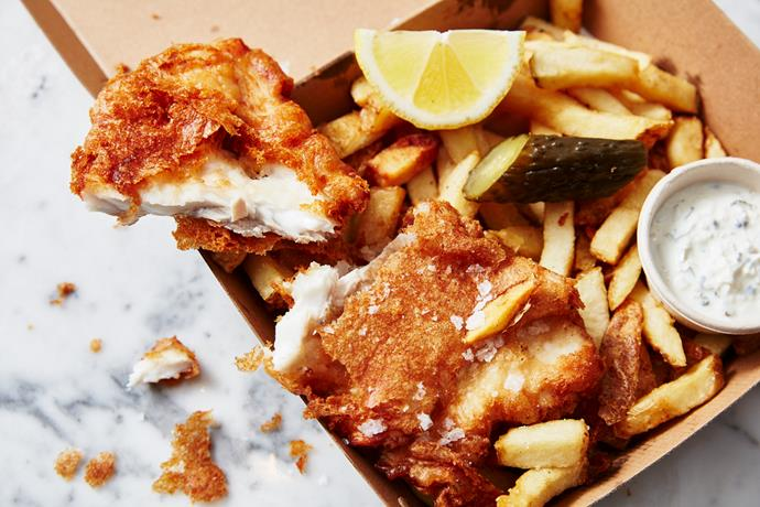 Fish and chips: fried Murray cod with pickles, yoghurt tartare  and chips.