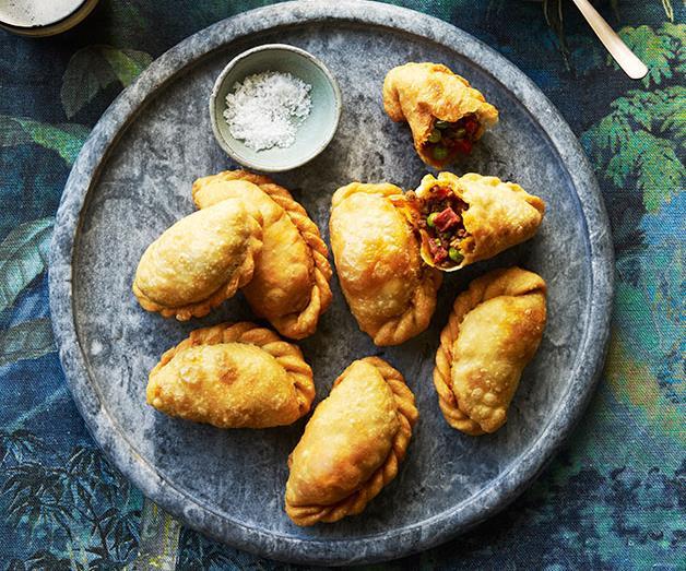 "**[San Telmo's beef and chorizo empanadas with chimichurri](https://www.gourmettraveller.com.au/recipes/chefs-recipes/empanada-recipe-9275|target=""_blank"")**"
