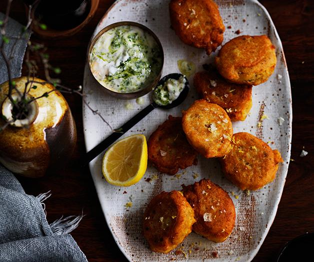 """**[Red lentil fritters with green yoghurt](http://www.gourmettraveller.com.au/recipes/browse-all/red-lentil-fritters-with-green-yoghurt-12514