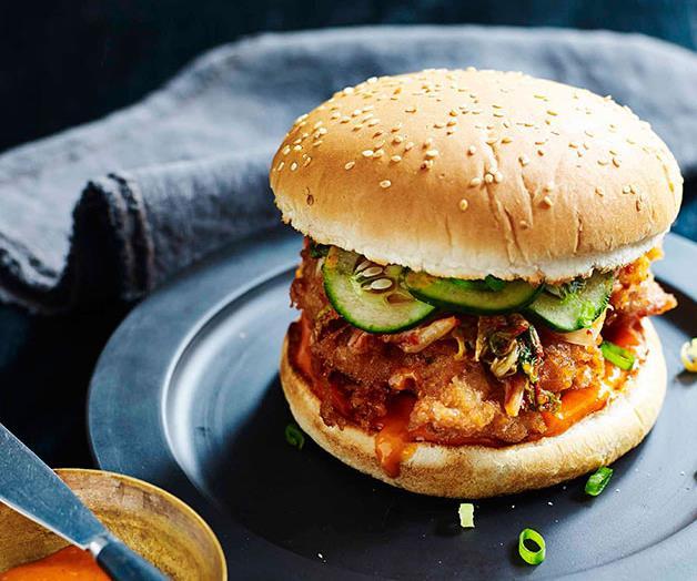 "**[Dan Hong's Korean fried chicken burger](https://www.gourmettraveller.com.au/recipes/chefs-recipes/korean-fried-chicken-burger-8085|target=""_blank"")**"
