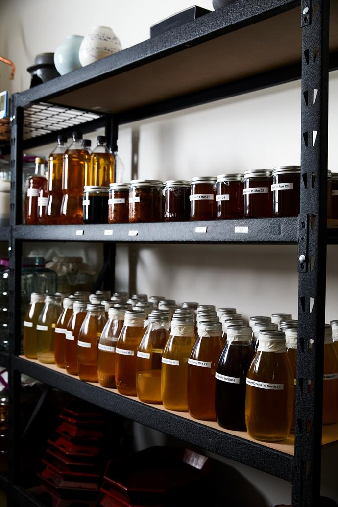 Chae's home is packed with jars of homemade fermented products such as fruit vinegars and makgeolli.