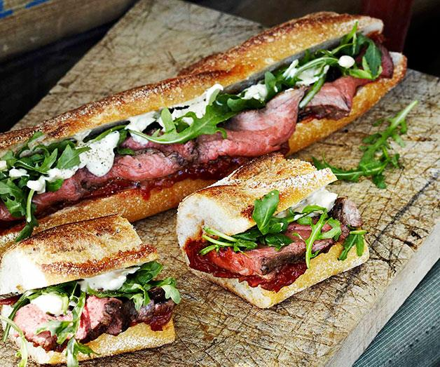 """[**Rare roast beef baguettes with roast tomato and currant chutney**](https://www.gourmettraveller.com.au/recipes/browse-all/rare-roast-beef-baguettes-with-roast-tomato-and-currant-chutney-11434 target=""""_blank"""")"""