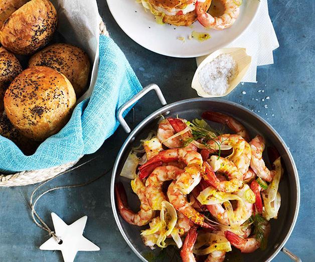 """[**Prawn and fennel brioche rolls**](https://www.gourmettraveller.com.au/recipes/browse-all/prawn-and-fennel-brioche-rolls-10903 target=""""_blank"""")<br>"""