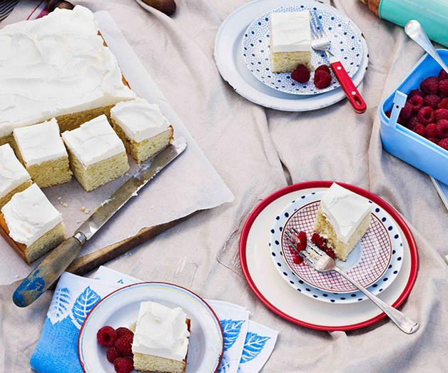 """[**Buttermilk and vanilla cake with raspberries**](https://www.gourmettraveller.com.au/recipes/browse-all/buttermilk-and-vanilla-cake-with-raspberries-10671 target=""""_blank"""")"""