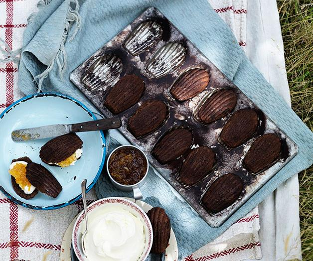 """**[Chocolate madeleines with mascarpone and marmalade](https://www.gourmettraveller.com.au/recipes/browse-all/chocolate-madeleines-with-mascarpone-and-marmalade-12076 target=""""_blank"""")**"""