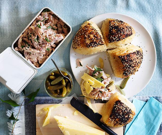 """**[Devilled ham with cornichons and cheddar](https://www.gourmettraveller.com.au/recipes/browse-all/devilled-ham-with-cornichons-and-cheddar-12924 target=""""_blank"""")**"""