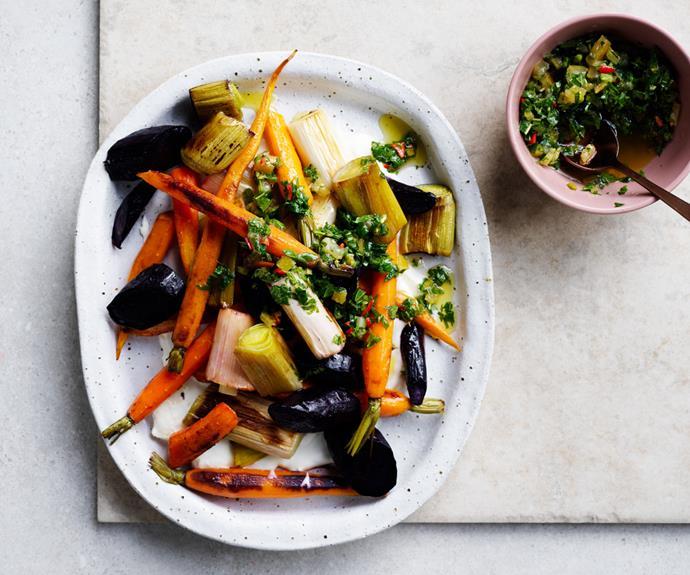 "**[Roasted vegetables  with preserved-lemon dressing](https://www.gourmettraveller.com.au/recipes/fast-recipes/roasted-vegetables-17144 target=""_blank"")**"
