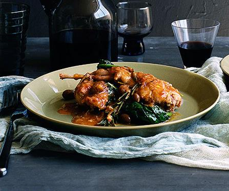 """**[Braised wild rabbit with salami, cavolo nero and olives](https://www.gourmettraveller.com.au/recipes/browse-all/braised-wild-rabbit-with-salami-cavolo-nero-and-olives-10143 target=""""_blank"""")**"""