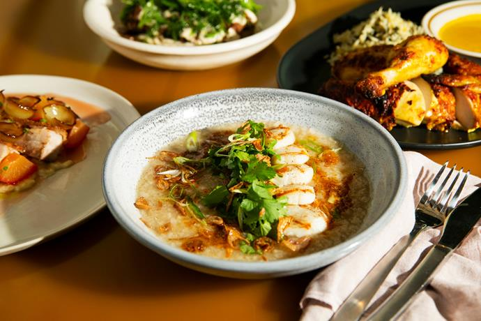 Scallop congee with XO and rotisserie chicken with spinach rice.