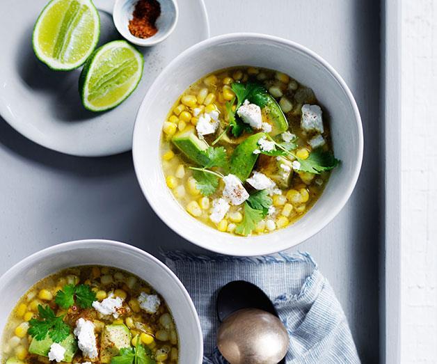 "**[Corn and avocado soup with goat's feta](https://www.gourmettraveller.com.au/recipes/fast-recipes/corn-and-avocado-soup-with-goats-feta-13691|target=""_blank"")**"