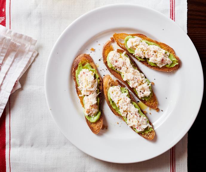 "**[Crab and avocado crostini by Leonardo's Pizza Palace](https://www.gourmettraveller.com.au/recipes/chefs-recipes/crab-crostini-17168|target=""_blank"")**"
