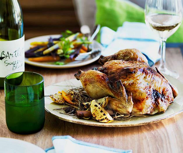 Chicken roasted in spiced hay with lemon stuffing