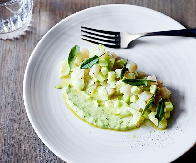 "**[Andreas Papadakis' mackerel tartare, pickled cucumber and crème fraîche](https://www.gourmettraveller.com.au/recipes/chefs-recipes/mackerel-tartare-pickled-cucumber-and-creme-fraiche-8625|target=""_blank"")**"