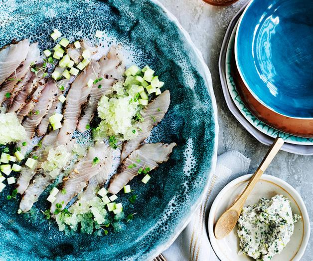 """**[Cured kingfish with cucumber and gin and tonic granita](https://www.gourmettraveller.com.au/recipes/chefs-recipes/cured-kingfish-with-cucumber-and-gin-and-tonic-granita-9193
