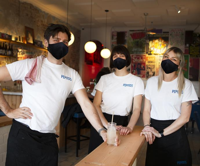 Masked-up front-of-house staff at Pepito's in Marrickville.