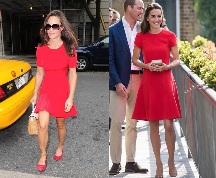 Little red dress twins.