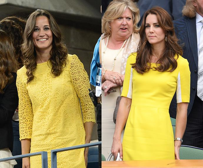 Yellow dress and waves at Wimbledon twins.