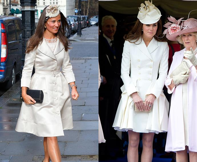 Cream coat-dress and hat twins.