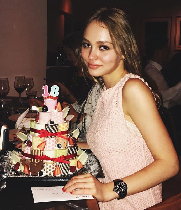 Caroline de Maigret shared this photo of Depp with her [birthday cake](https://www.instagram.com/p/BUt_-vKjX45/).