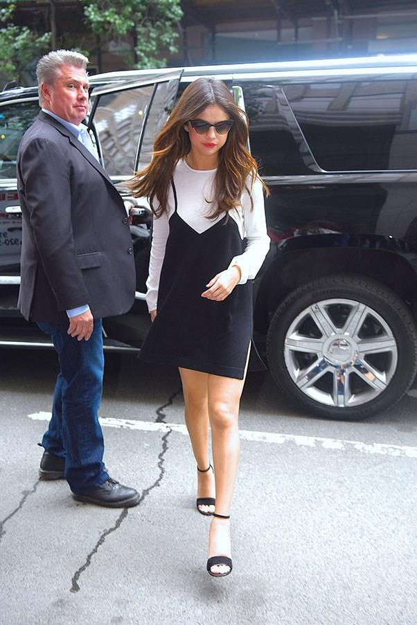 **June 5th, 2017**  Selena's third outfit was a black and white Victor Glemaud dress.