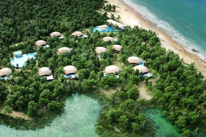 "**UGA CHENA HUTS RESORT** <br><br> Yala, Sri Lanka, [ugaescapes.com](http://www.ugaescapes.com/chenahuts/|target=""_blank"") <br><br> Only fourteen villas reside in this slice of Sri Lankan heaven—located in Yala National Park—which makes it the perfect nesting location for honeymooners. You'll have access to morning and evening game drives, a daily re-stocked mini bar, laundry service, and three meals at Basses restaurant on site.  <br><br> *Prices starting at approx. $1,029 per night, per couple.*"