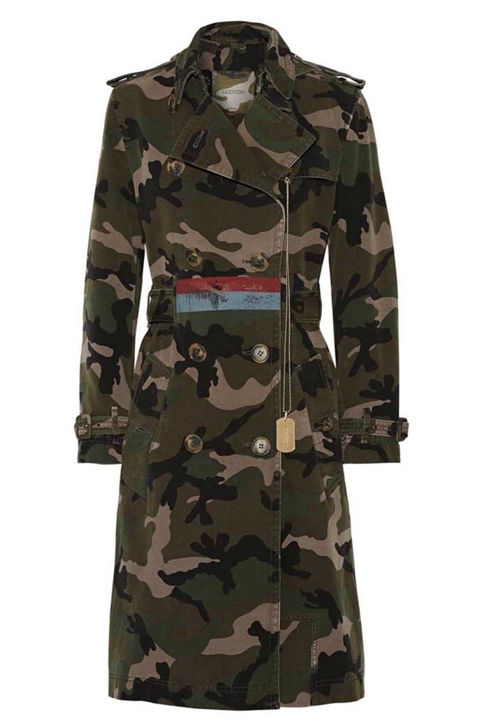 Trench, $6,600, Valentino from [Net-A-Porter](https://www.net-a-porter.com/au/en/product/810154/Valentino/embellished-camouflage-print-cotton-canvas-trench-coat)