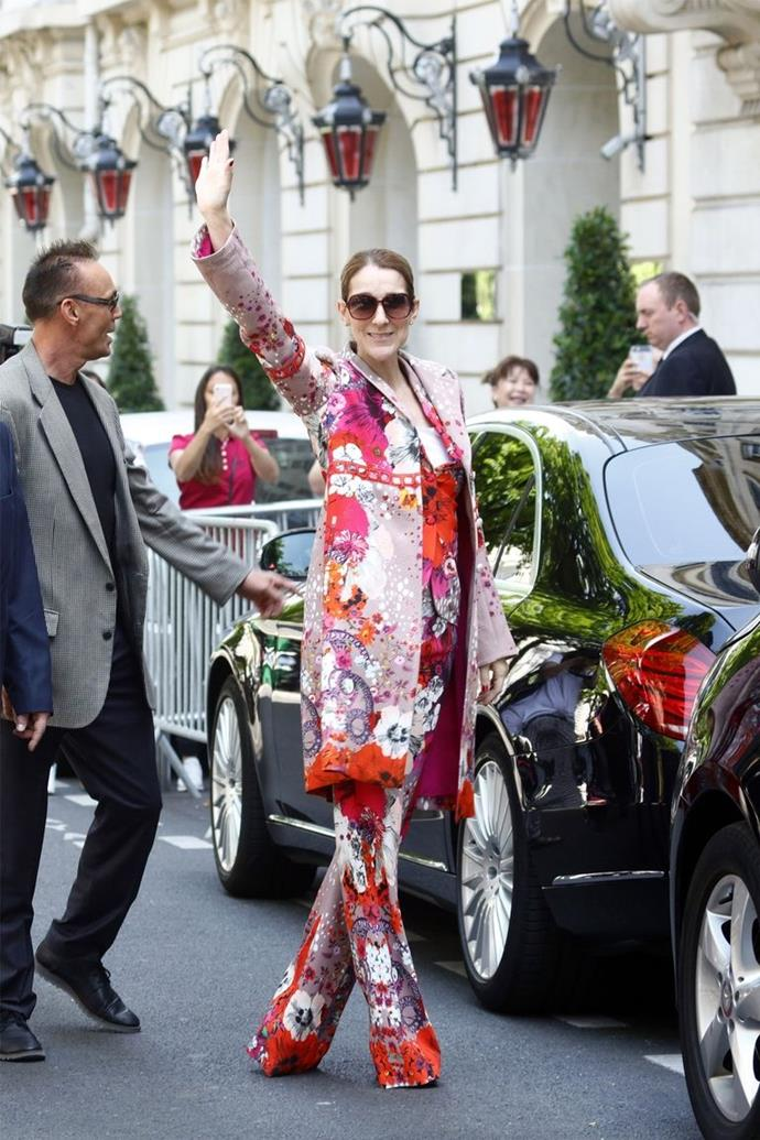 June 16th, 2017  Celine stepped out in Paris a colourful three piece floral Roberto Cavalli suit.