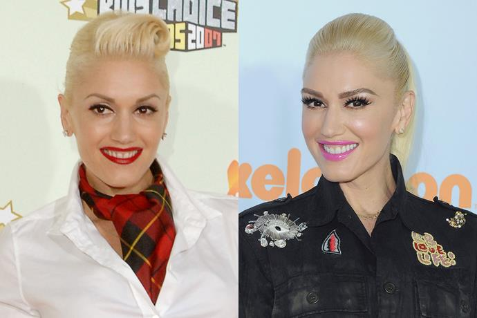 **Gwen Stefani** in 2007 and 2017.