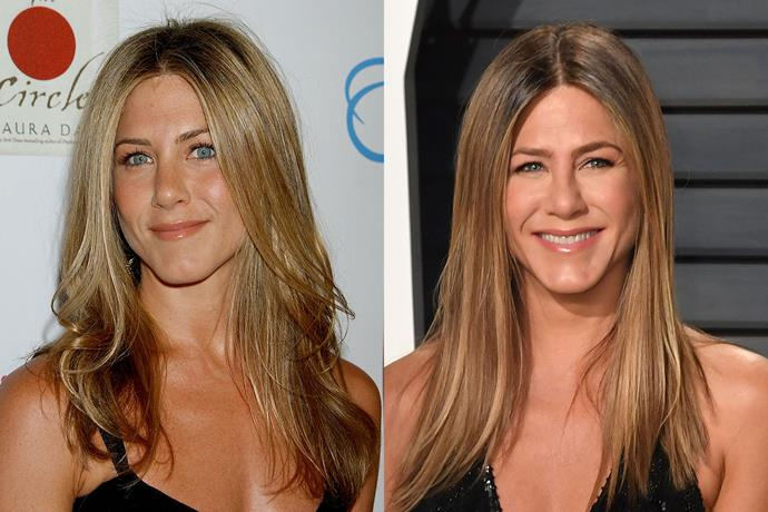 **Jennifer Aniston** in 2007 and 2017.