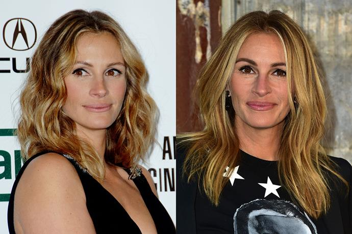 **Julia Roberts** in 2006 and 2016.