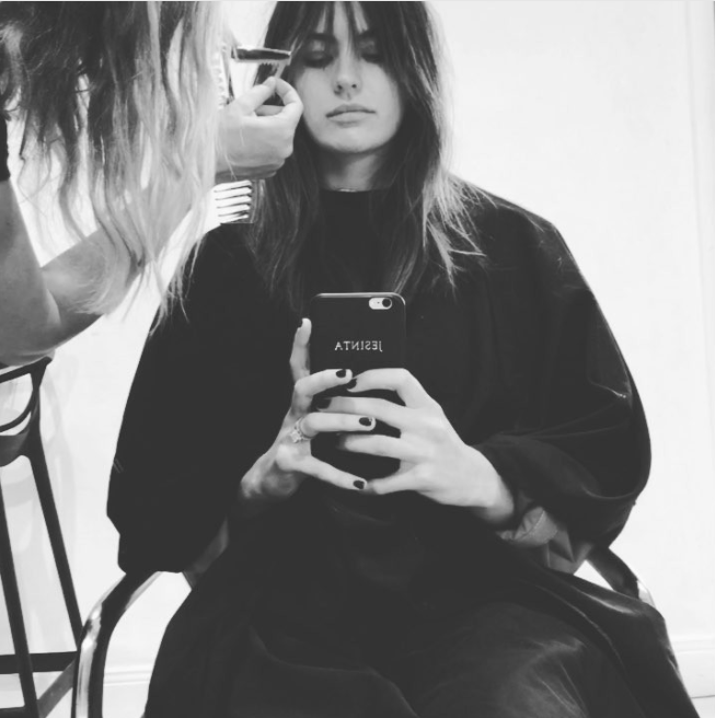 **The fringe**  Franklin took to Instagram last month to document the trim, carried out by Diane Gorgievski of Koda Cutters Bondi.